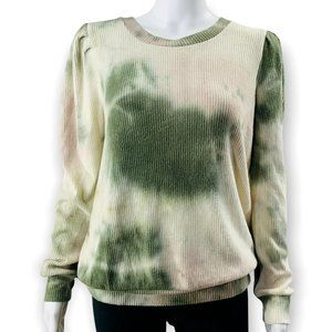 Status By Chenault Women's Tie Dye Green Puff Sleeve Pullover Size Medium NEW